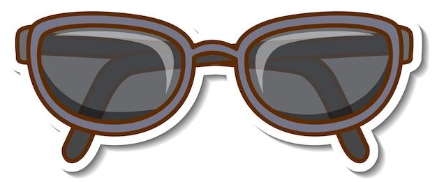 Aufkleberdesign mit sonnenbrille brille isoliert