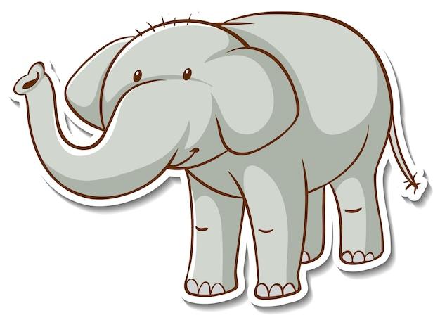 Aufkleberdesign mit süßem elefanten isoliert