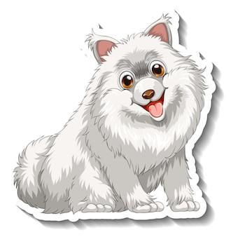 Aufkleberdesign mit weißem pommerschen hund isoliert