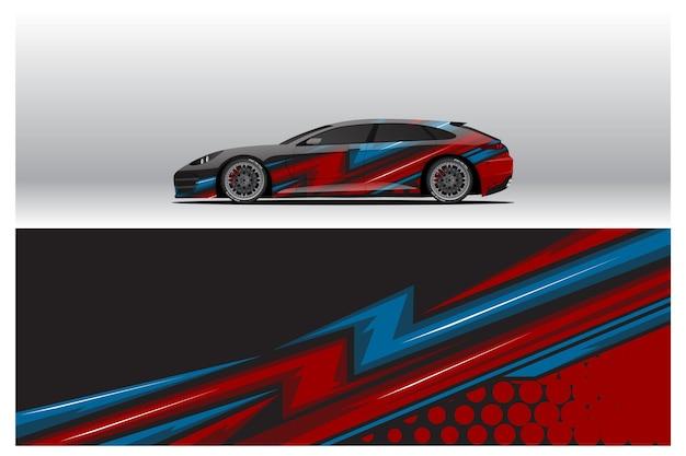 Aufkleberdesigns für autoverpackungen. abstrakter renn- und sporthintergrund für rennlackierungen oder den täglichen gebrauch von auto-vinyl-aufklebern. abziehbild vektor-eps bereit für den druck.