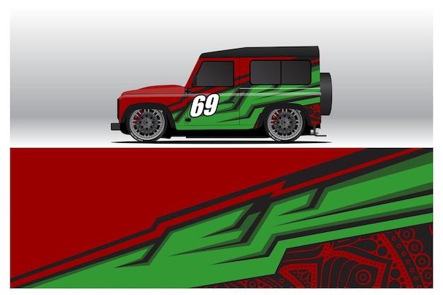 Aufkleberdesigns für autoverpackungen. abstrakter renn- und sporthintergrund für rennlackierungen oder täglicher auto-vinylaufkleber. abziehbild vektor-eps bereit für den druck.