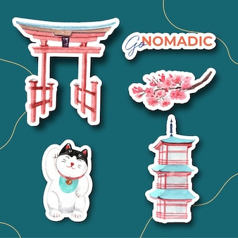 Aufkleberentwurf mit asien-reisekonzept für charakterkarikatur lokalisierte aquarellvektorillustration
