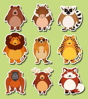 Aufkleberentwurf mit wilden tieren