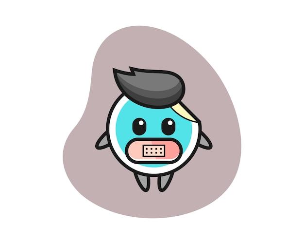 Aufkleberkarikatur mit klebeband auf mund