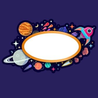 Aufkleberrahmen mit planeten