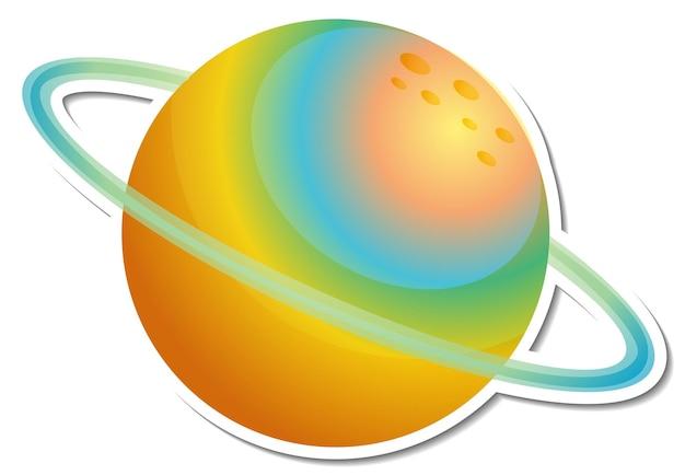 Aufkleberschablone mit dem bunten planeten lokalisiert