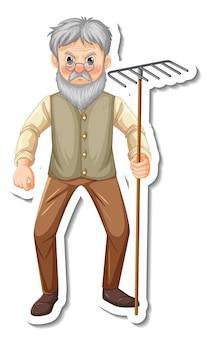 Aufkleberschablone mit einem alten mann des gärtners hält rake-gartengerät isoliert