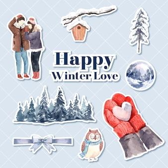 Aufkleberschablone mit winterliebeskonzeptentwurf für charakterkarikatur lokalisierte aquarellvektorillustration