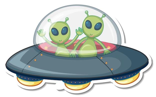 Aufkleberschablone mit zwei außerirdischen monstern in ufo isoliert