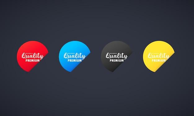 Aufkleberset in premiumqualität. für grafik- und webdesign. vektor auf isoliertem hintergrund. eps 10