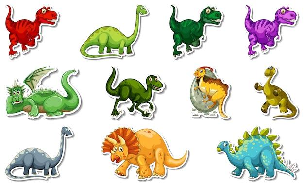 Aufkleberset mit verschiedenen arten von dinosaurier-zeichentrickfiguren