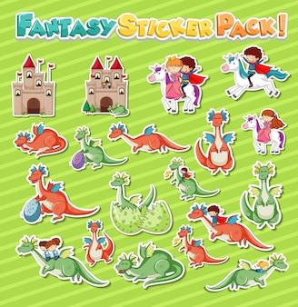 Aufkleberset mit verschiedenen fantasy-zeichentrickfiguren
