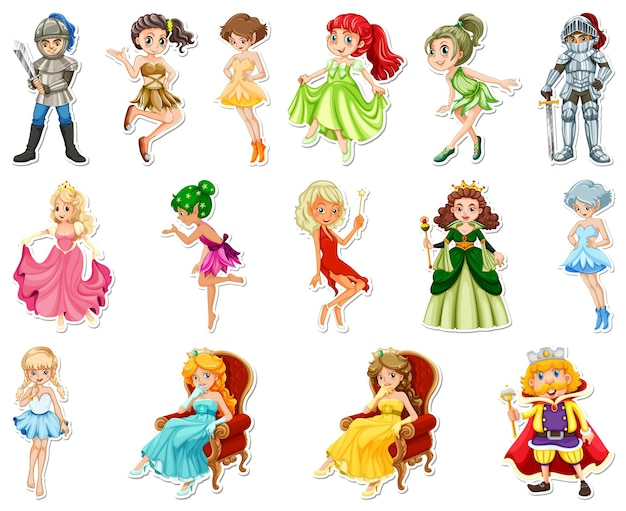 Aufkleberset mit verschiedenen märchenhaften zeichentrickfiguren