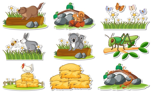Aufkleberset mit verschiedenen wildtieren und naturelementen