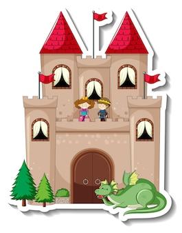 Aufklebervorlage mit big castle im cartoon-stil isoliert Kostenlosen Vektoren