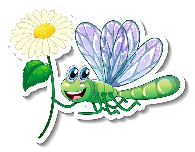 Aufklebervorlage mit cartoon-figur einer libelle, die eine blume isoliert hält