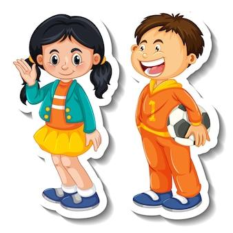 Aufklebervorlage mit ein paar kinderstudenten-cartoon-figur isoliert