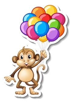 Aufklebervorlage mit einem affen, der viele luftballons hält