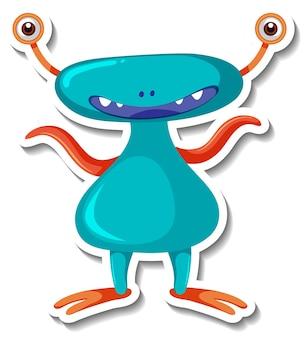 Aufklebervorlage mit einem außerirdischen monster-cartoon-charakter isoliert