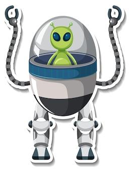 Aufklebervorlage mit einem außerirdischen monster im ufo-roboter isoliert