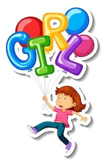 Aufklebervorlage mit einem fliegenden mädchen mit vielen luftballons isoliert