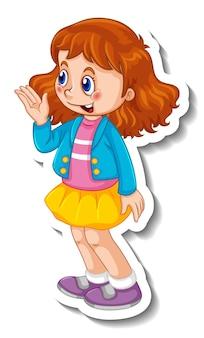 Aufklebervorlage mit einem isolierten mädchen-cartoon-charakter