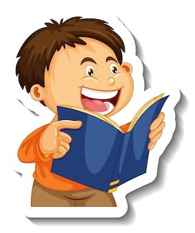 Aufklebervorlage mit einem jungen, der eine isolierte buchzeichentrickfigur liest Kostenlosen Vektoren