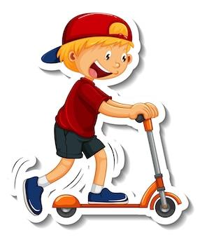 Aufklebervorlage mit einem jungen, der einen roller-cartoon-charakter fährt, isoliert