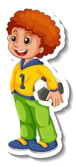 Aufklebervorlage mit einem jungen, der fußball isoliert hält