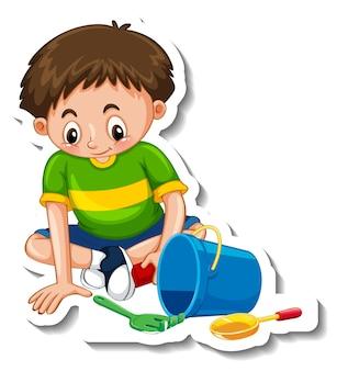 Aufklebervorlage mit einem jungen, der mit seinen spielsachen spielt, isoliert