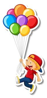 Aufklebervorlage mit einem jungen, der viele ballons isoliert hält