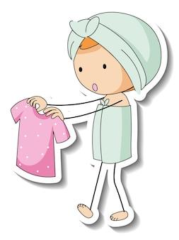 Aufklebervorlage mit einem kind mit handtuch auf weißem hintergrund