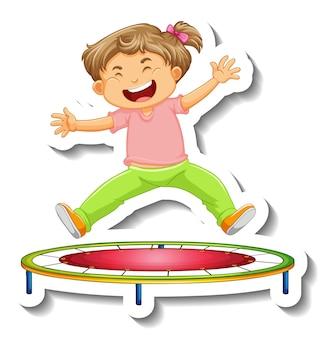 Aufklebervorlage mit einem kleinen mädchen, das auf trampolin-cartoon-figur springt, isoliert