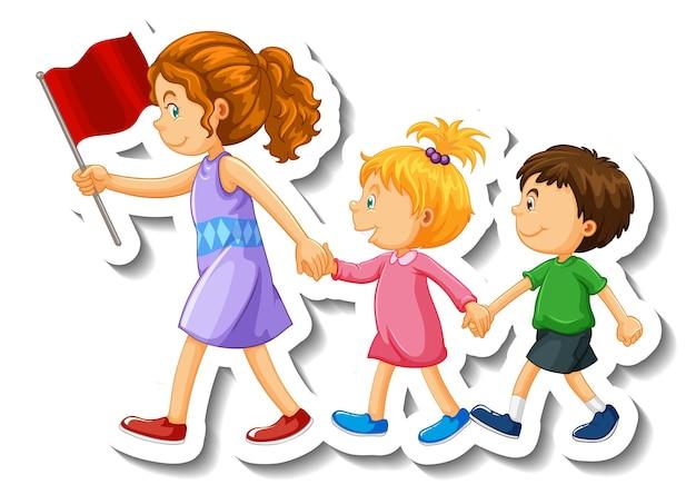 Aufklebervorlage mit einem lehrer und kindern, die in einer linie laufen