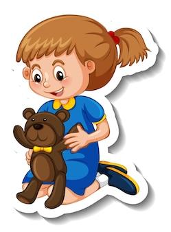 Aufklebervorlage mit einem mädchen, das mit ihrem teddybären spielt, isoliert