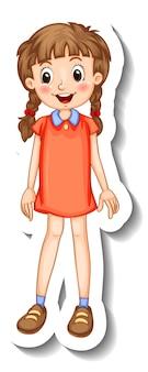 Aufklebervorlage mit einem mädchen im stehen posiert cartoon-figur isoliert