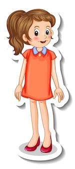 Aufklebervorlage mit einem teenager-mädchen-cartoon-charakter isoliert