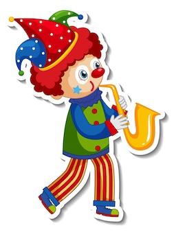 Aufklebervorlage mit glücklicher clown-cartoon-figur