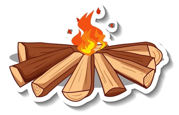 Aufklebervorlage mit lagerfeuer isoliert
