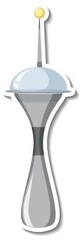 Aufklebervorlage mit nicht identifiziertem flugobjekt (ufo) isoliert
