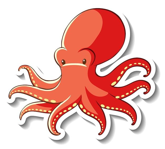 Aufklebervorlage mit octopus-cartoon-figur isoliert