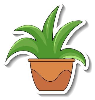 Aufklebervorlage mit pflanze in einem topf isoliert