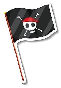 Aufklebervorlage mit piratenflagge isoliert