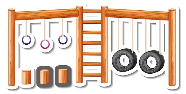 Aufklebervorlage mit still rings für spielplatz isoliert