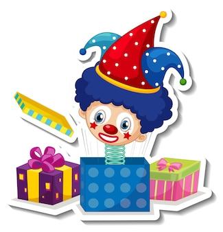 Aufklebervorlage mit süßem clown auf einer feder in der box