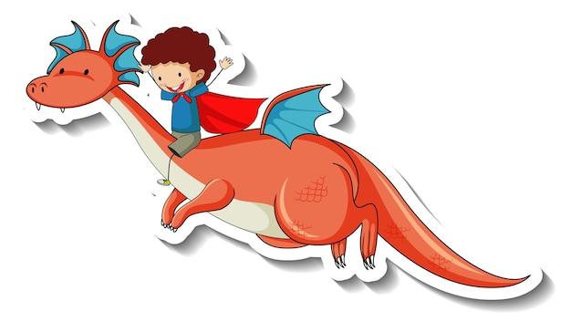 Aufklebervorlage mit superheldenjunge, der einen fantasy-drachen reitet