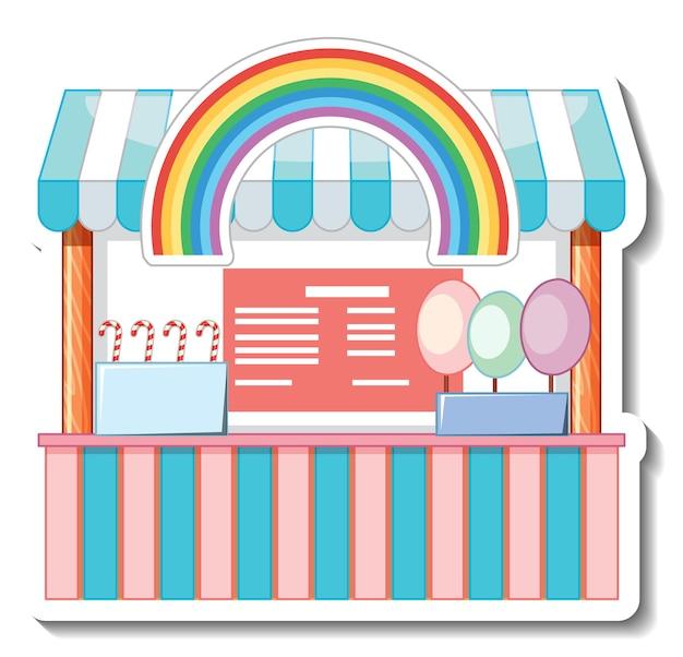 Aufklebervorlage mit sweet candy store front isoliert