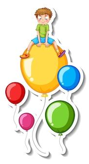 Aufklebervorlage mit vielen luftballons, die mit einem jungen fliegen