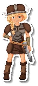 Aufklebervorlage mit wikinger-krieger-cartoon-figur isoliert