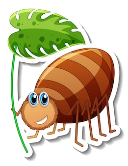 Aufklebervorlage mit zeichentrickfigur eines käfers, der ein isoliertes blatt hält